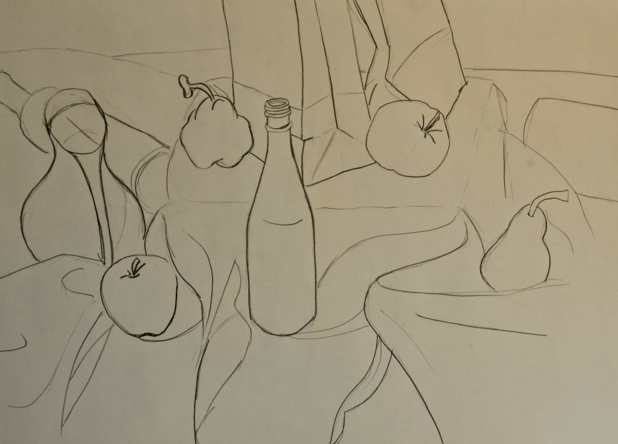 graphite still life line drawing